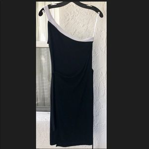 WHBM ONE SHOULDER MIDI BLACK DRESS EUC SMALL